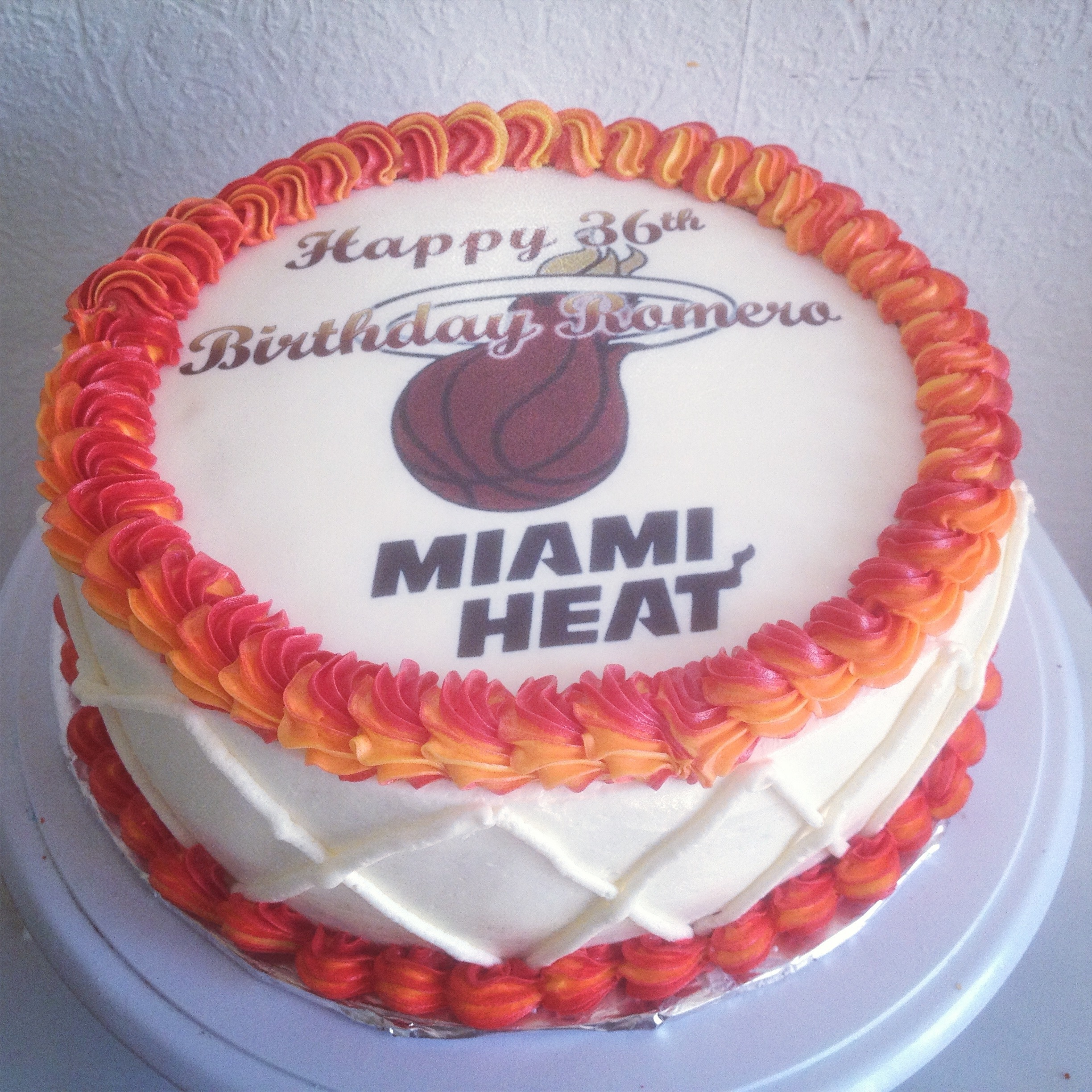 Pleasing Miami Heat Birthday Cake Twincupcakery Funny Birthday Cards Online Alyptdamsfinfo